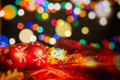 Christmas balls on a blur background Royalty Free Stock Photos