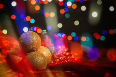 Christmas balls on a blur background Stock Images