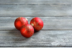 Christmas balls on the boards Royalty Free Stock Photos