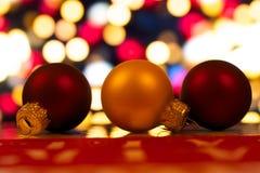 Christmas balls. On bokeh background Stock Photography