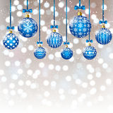 Christmas balls on bokeh background. Blue Christmas balls on bokeh background Stock Photography