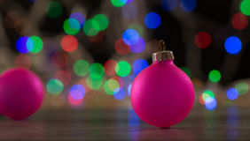 Christmas balls on bokeh background Royalty Free Stock Images