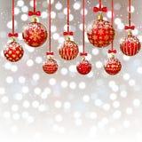 Christmas balls on bokeh background. Christmas red balls on bokeh background Stock Photo