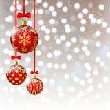 Christmas balls on bokeh background. Christmas balls on silver bokeh background Stock Image