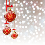 Christmas balls on bokeh background Stock Image