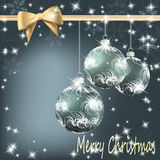Christmas balls with bow and ribbon background Stock Photos