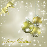 Christmas balls with bow and ribbon background Royalty Free Stock Photo