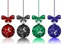 Christmas balls with bows Royalty Free Stock Image