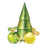 Christmas balls with bows, serpentine and stylized fir tree Royalty Free Stock Photos
