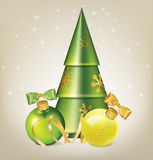 Christmas balls with bows, serpentine and stylized fir tree Royalty Free Stock Photo