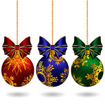 Christmas balls with bows Royalty Free Stock Photography