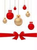 Christmas balls and bows vector Royalty Free Stock Photo