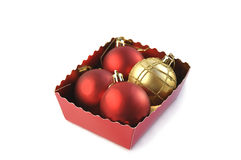 Christmas balls in the box. Royalty Free Stock Photo