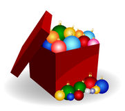 Christmas balls in a box Stock Images