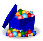 Christmas balls in a box Royalty Free Stock Photography