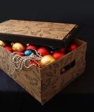 Christmas balls in box Stock Photos