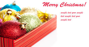Christmas balls in box Royalty Free Stock Photography