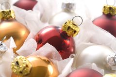 Christmas balls in box. Close up of colored christmas balls in box royalty free stock images