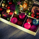 Christmas balls in a box Stock Photos