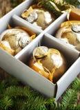 Christmas balls in box Royalty Free Stock Image