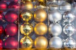 Christmas balls in box Stock Photography