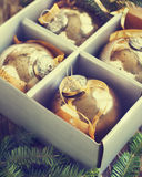 Christmas balls in box. Royalty Free Stock Photography