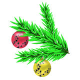 Christmas balls on a branch Stock Photo