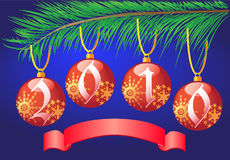 Christmas balls on branch fir-tree. Number year in christmas balls on branch fir-tree and banner   illustration Stock Photos