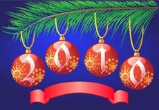 Christmas balls on branch fir-tree Stock Photos
