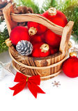 Christmas balls with branch firtree and red bow Royalty Free Stock Photography