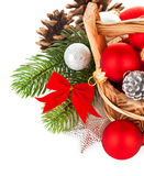 Christmas balls with branch firtree and red bow Royalty Free Stock Photos