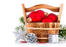 Christmas balls with branch firtree and silvery star Royalty Free Stock Photos