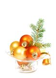 Christmas balls and branch of fur-tree isolated Royalty Free Stock Photo