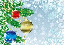 Christmas balls on branches. Festive background with Christmas balls on branches Stock Photography