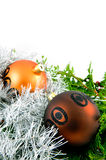 Christmas balls with branches and ribbon Stock Photography