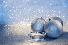 Christmas Balls and Candle Royalty Free Stock Photos