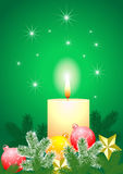 Christmas balls and candles Stock Photos