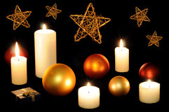 Christmas balls and candles royalty free stock images