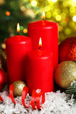 Christmas balls and candles, close up Stock Photography