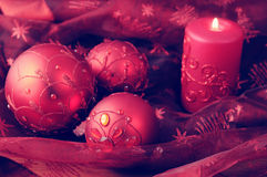 Christmas balls with candles. Holiday. Royalty Free Stock Photos