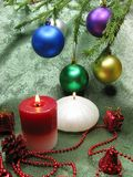 Christmas balls candles home decoration Stock Image