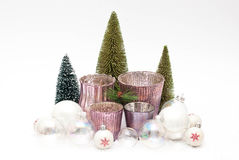 Christmas. Balls, candles and trees Stock Image