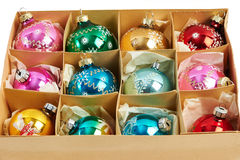 Christmas balls in a carboard box Stock Photo