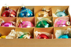 Christmas balls in a carboard box Royalty Free Stock Photos