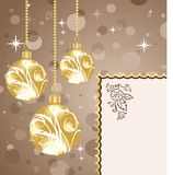 Christmas balls with card. Illustration Christmas balls with card - vector Royalty Free Stock Image