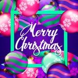 Christmas Balls. Christmas Card. Merry Christmas Text Royalty Free Stock Images