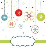 Christmas balls card with snowflakes royalty free stock photography