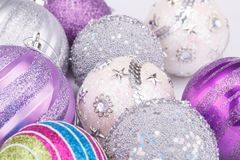 Christmas balls. Christmas colorful balls on gray background royalty free stock photography