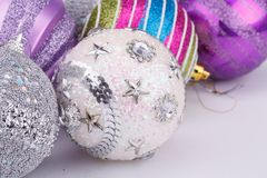 Christmas balls. Christmas colorful balls on gray background royalty free stock image