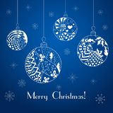 Christmas balls. Christmas greeting card. With snowflakes in zentangle style. Vector illustration stock illustration